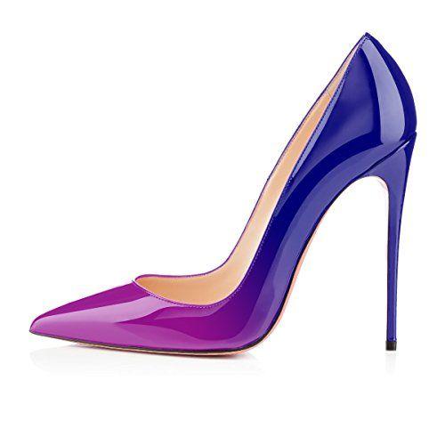 bottines bleues talons aiguilles violet