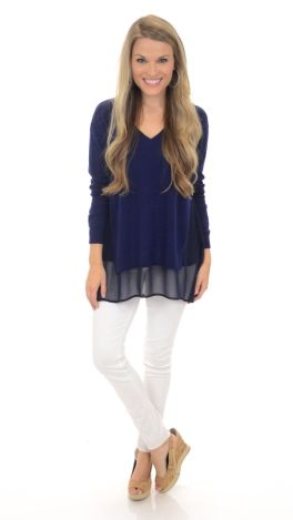 Peep of Chiffon Sweater, Navy :: NEW ARRIVALS :: The Blue Door Boutique