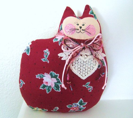 CAT Pillow Doll Cloth Doll 7 inch VALENTINE by CharlotteStyle, $10.00