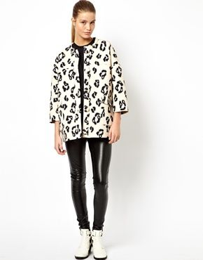 Image 4 of HOUSE OF HACKNEY Scuba Coat in Cream Leopard Print