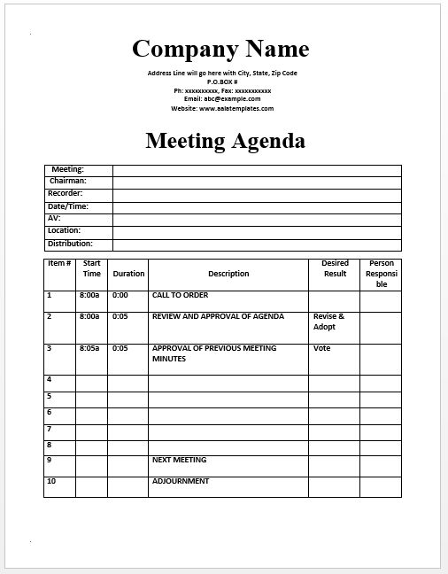 Meeting Agenda Template  Official Templates    Template