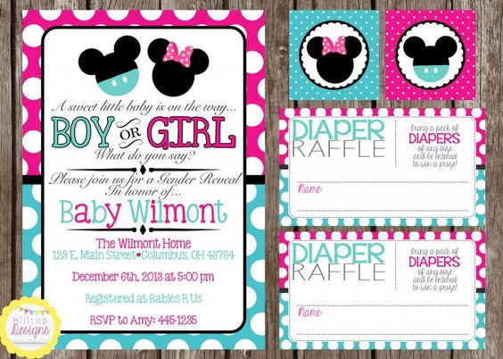 Hilltop Custom Designs: Featured Spotlight: Minnie & Mickey Gender Reveal Party in Pink & Teal OR Red & Black! Check it out :) www.hilltopcustomdesigns.com