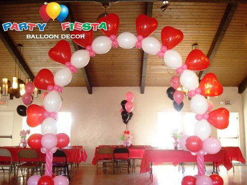 Balloon arch arches and photos on pinterest for Balloon decoration for valentines day