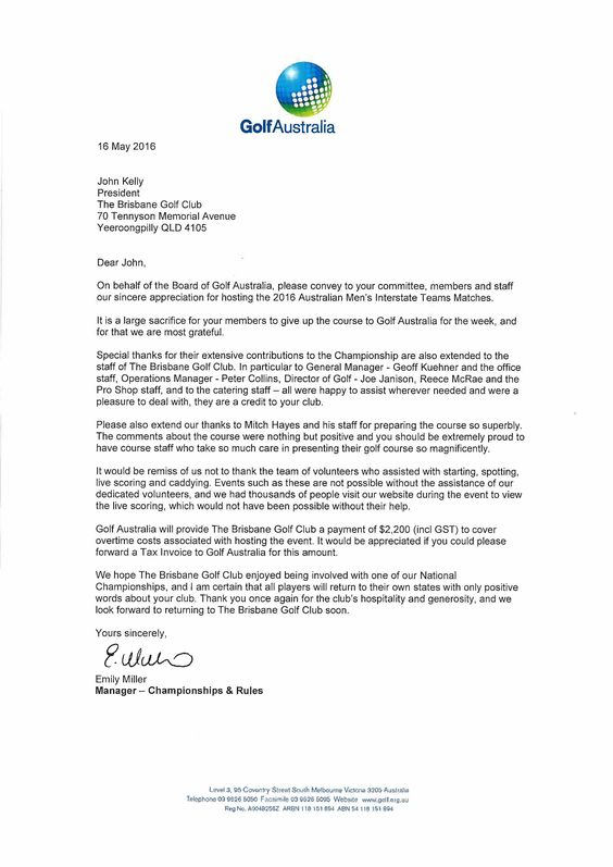 Thank You From Golf Australia Letters After Job Interview Key Your