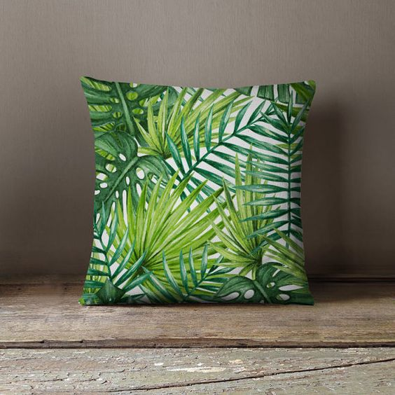 Tropical paumes and feuilles on pinterest for Decoration des coussins