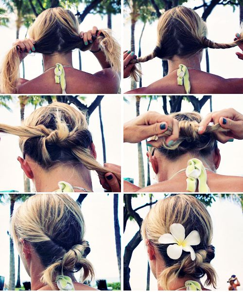 "1. Divide hair into 2 sections.    2. Twist each section outwards, creating two ""ropes""    3. Tie the ""ropes"" in a knot just like you would when you start to tie your shoes.    4. Repeat and tie once again in a knot. Donezo!    5. If you want, pin in place.    6. Pick plumeria off a tree and stik in there for added style points."