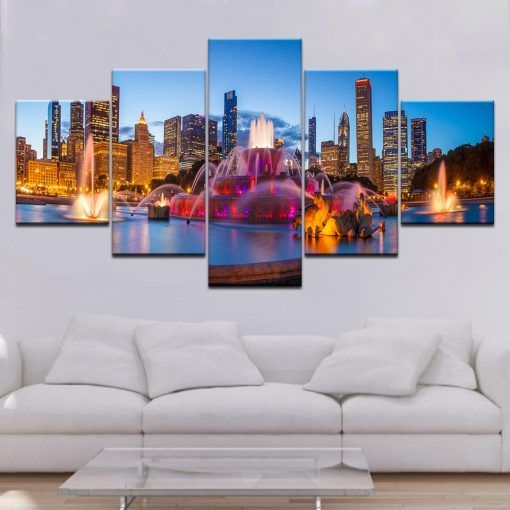 5 Panels Modern Modular Art Chicago Night View High Quality Canvas Painting City S Night Wall Jpg In 2020 Chicago Wall Art Art Wall Kids Canvas Art