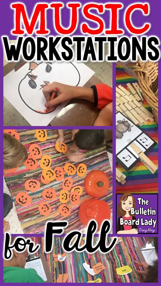 Music workstation ideas for fall include playing instruments, pumpkin matching games, candy corn puzzles and more! High engagement, active learning, high level conversations and smiles are all part of these centers for October and November in music class.
