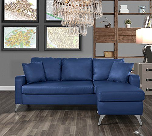 Divano Roma Furniture Bonded Leather Sectional Sofa Small Space Configurable Couch Blue Leather Sofas For Small Spaces Small Sectional Sofa Sectional Sofa