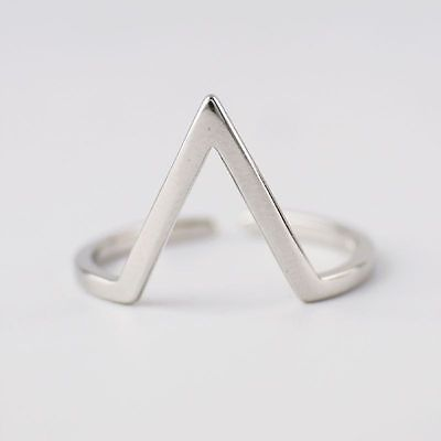 925 Sterling Silver Triangle Adjustable Above Knuckle Midi Ring Size J 1/2 A3632