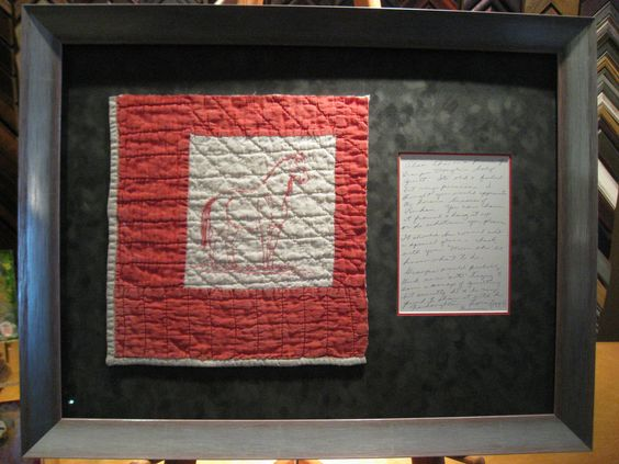 Antique quilt square, sewn down with a letter accompanying the gift.