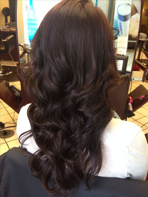 Dark chocolate hair. A mix of honey, mocha, and violet.