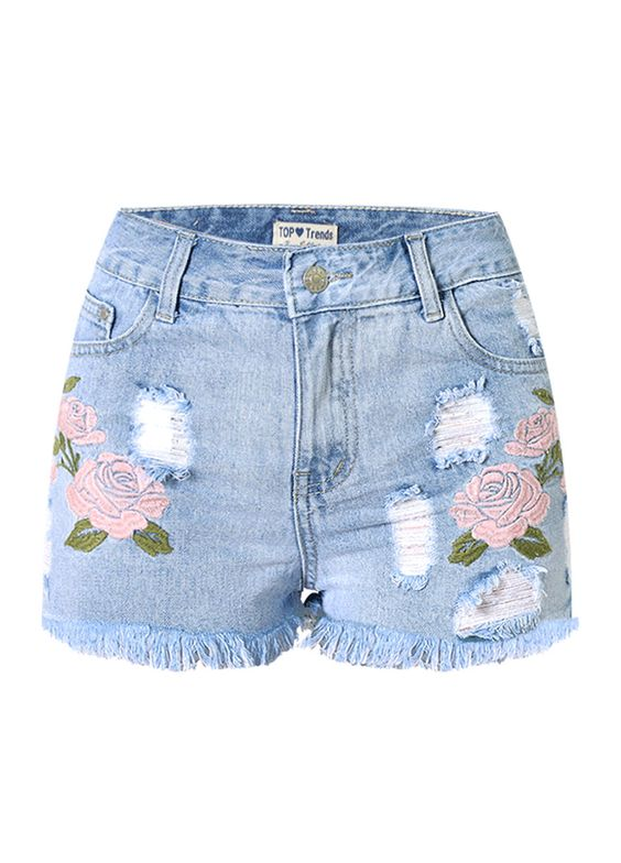 Rose Embroidery Ripped Wash Denim Shorts_Denim Shorts Jeans_Women ...