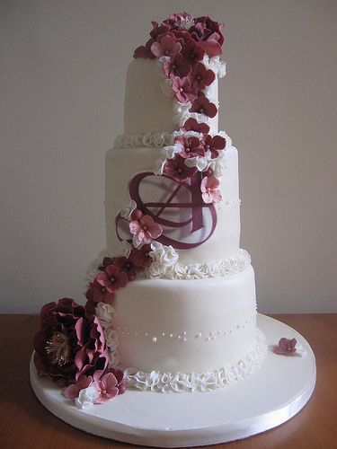 Wedding cake with peonies and hydrangeas by vanessa-anne, via Flickr