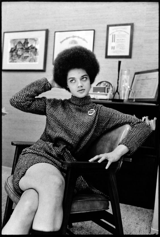 Portrait of Kathleen Neal Cleaver by Howard Bingham.