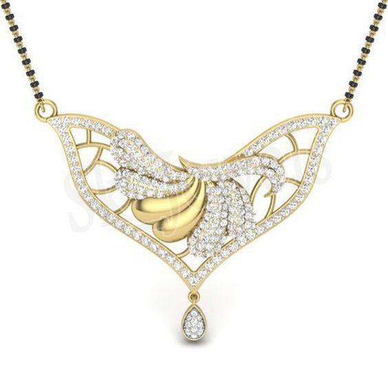CHRISTMAS 1.40ctw ROUND DIAMOND 14K YELLOW GOLD WEDDING ANNIVERSARY MANGALSUTRA  #Sk_Jewels #Mangalsuta