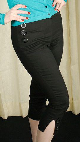 black stretch capri pants - Pi Pants