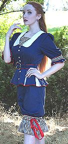Navy & White Victorian Swim Outfit by Retroscope Fashions