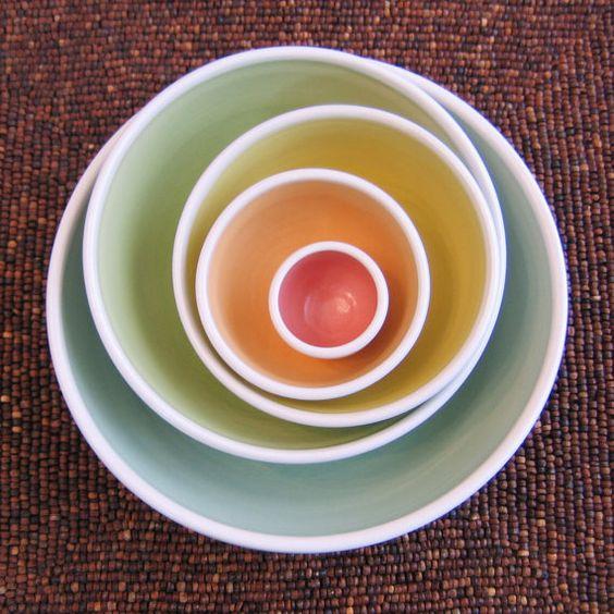 Rainbow Pottery Nesting Bowls  Large Ceramic by KarinLorenc