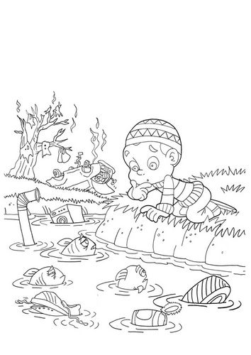 pollution coloring pages - photo#6