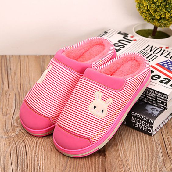Couple Shoes Cotton Keep Warm Indoor Home Comfortable Slip On Slippers
