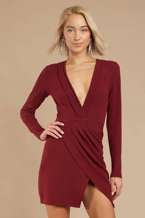 Ava Wine Bodycon Long Sleeve Dress Long Sleeve Bodycon Dress Dresses Long Sleeve Plunge Dress