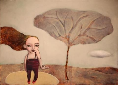 Evelina Oliveira, chamar nuvens, acrilico sobre tela