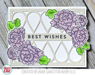 Jamie Gracz for Avery Elle using Petal Panel Stamp Set, Petal Plate Die Set, Peonies Stamp & Die Set