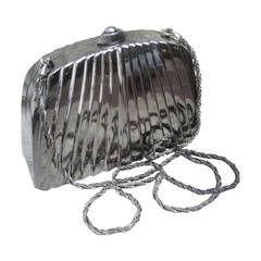Neiman Marcus Sleek Pewter Metal Evening Bag Made in Italy