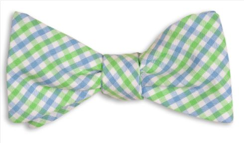 High Cotton | Cornflower and Mint Green Tattersall Bow Tie