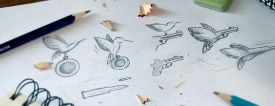 """""""Calibry"""" - логотип для разработчика игр и приложений для мобильных устройств. Дизайнер - Ольга Шу. #логотип #колибри #птица #пистолет #игра #game #colibri #weapon #pistol #bird #logo #лого #дизайн #design #logodesign #logotype #tailroom #inspiration"""