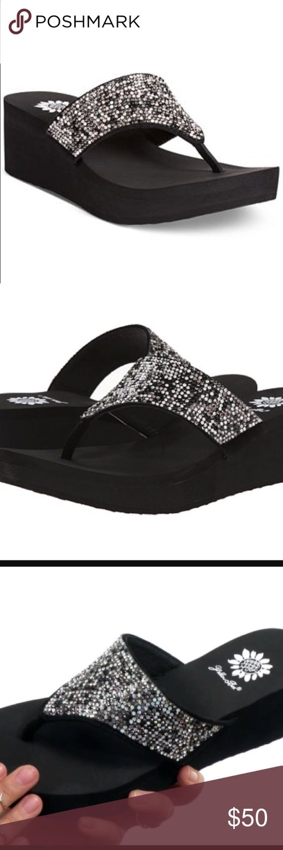 """Yellow Box Reija Wedge Thong Sandals Spice things up with the Reija wedge thong Sandals by Yellowbox. They add sparkle to all your favorite outfits in a way that's easy on your feet. Man-made upper, round open-toe wedge thong sandals, 1/2"""" platform, 2"""" wedge heel, man-made sole. Brand new, never worn, in box. Yellow Box Shoes Sandals"""
