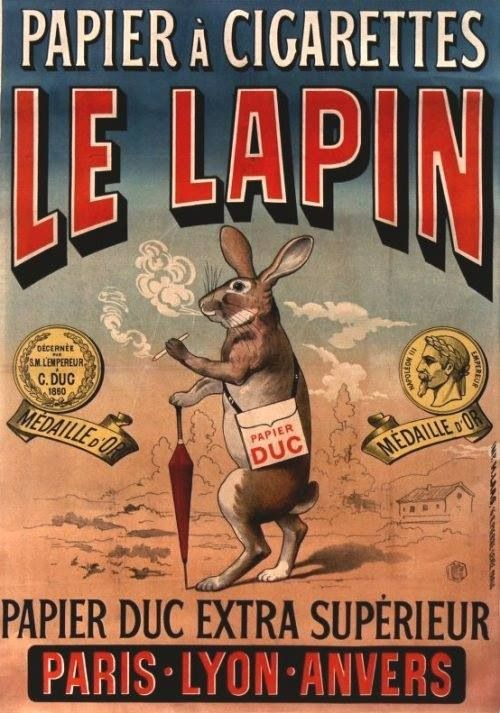Vintage advertising poster / Papier à cigarettes Le Lapin / Ancienne affiche publicitaire, publicité