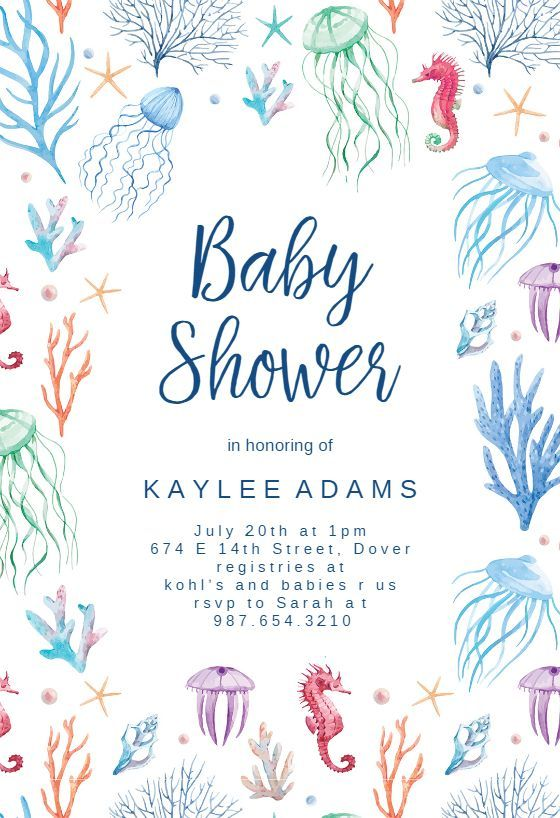 Under The Sea Baby Shower Invitation Template Free Greetings Island Sea Baby Shower Ocean Baby Shower Theme Sea Baby Shower Theme