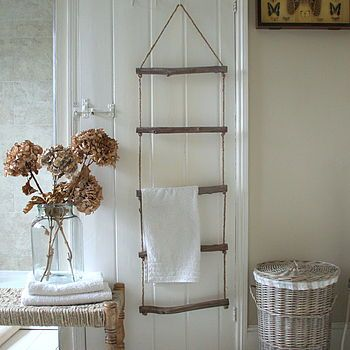 Rope And Driftwood Towel Ladder, via not on the high street. This looks like an easy DIY idea.