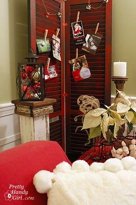 Shutter card display - great way to display Christmas cards or other holidays