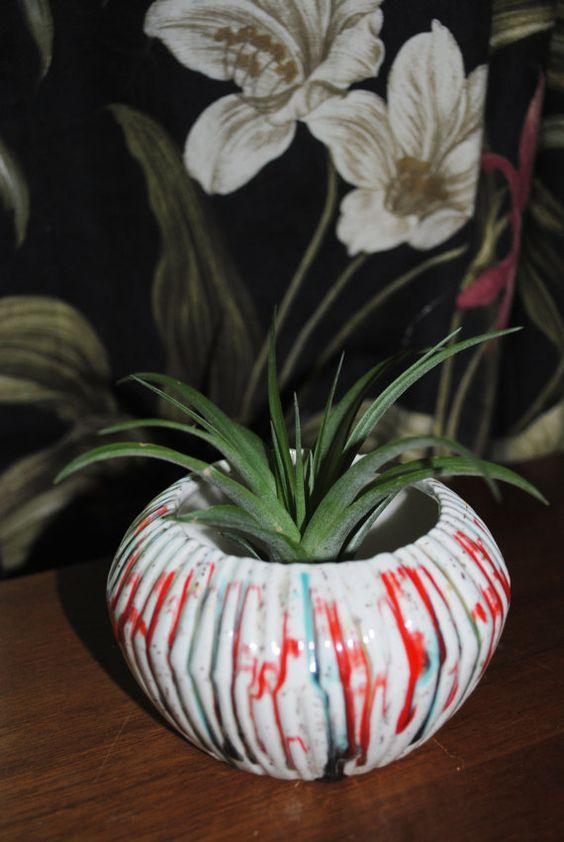 Psychedelic Ceramic MidCentury Vase Candleholder by 2cutevintage, $15.00
