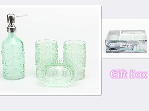 4 Piece Glass Bathroom Accessory Set In Gift Box Includes Soap Dispenser Toothbrush Holder Tumbler S In 2020 Glass Bathroom Bathroom Accessories Sets Soap Dispenser