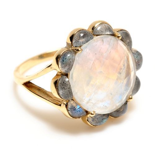 livi ring..moonstone surrounded by labradorite