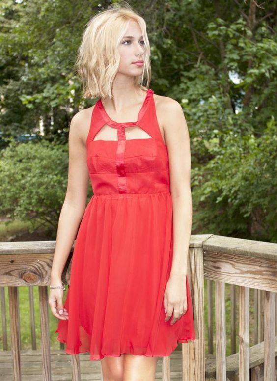 Red Sleeveless Cutout Dress with Layered Chiffon Skirt | USTrendy