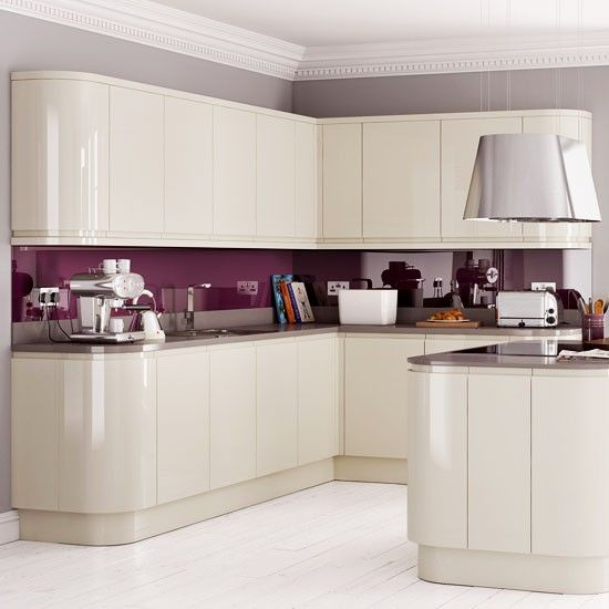 White Kitchen No Handles curved units from mereway | kitchen cupboard doors without handles