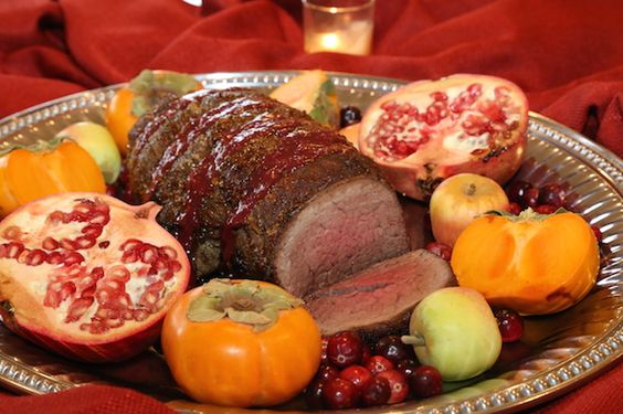 Brown Sugar Crusted Beef Tenderloin with Cranberry Wine Sauce