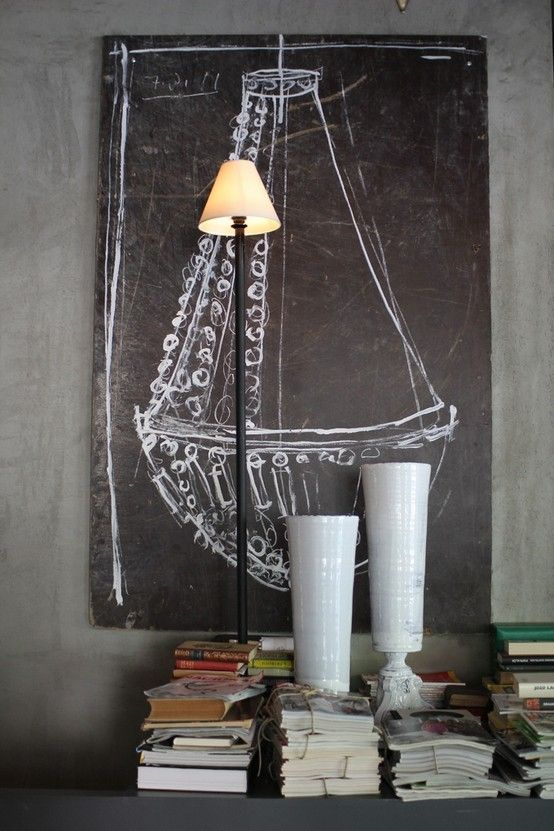 love the chandelier chalkboard painting