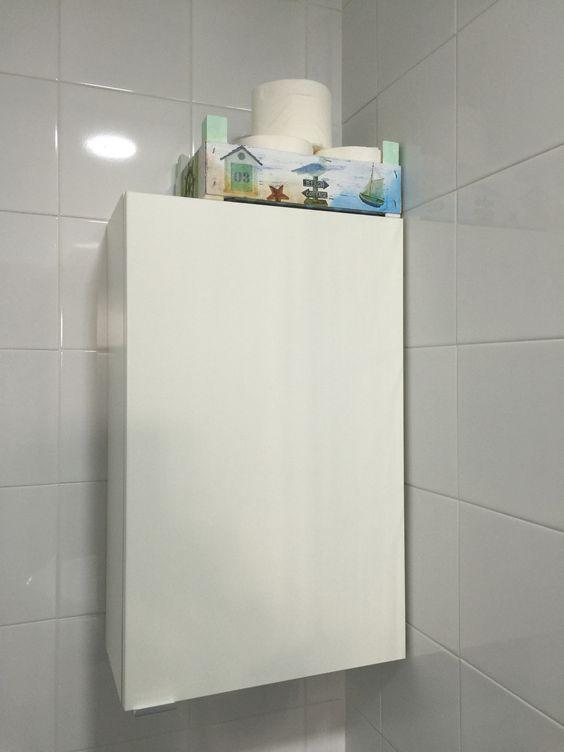 Resultado final. Utilizada para almacenar el papel higiénico. Una opción entre las muchas existentes.