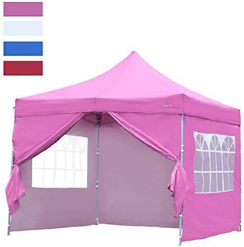 Chic Leisurelife Heavy Duty 10 X10 Pop Up Canopy Tent With Sidewalls Pink Outdoor Folding Commercial Gaze Pop Up Canopy Tent Canopy Tent Outdoor Canopy Tent