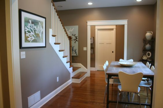 dining room decor interior design wall gray color wooden floor | light grey walls, red wood floor - Google Search | Décor ...
