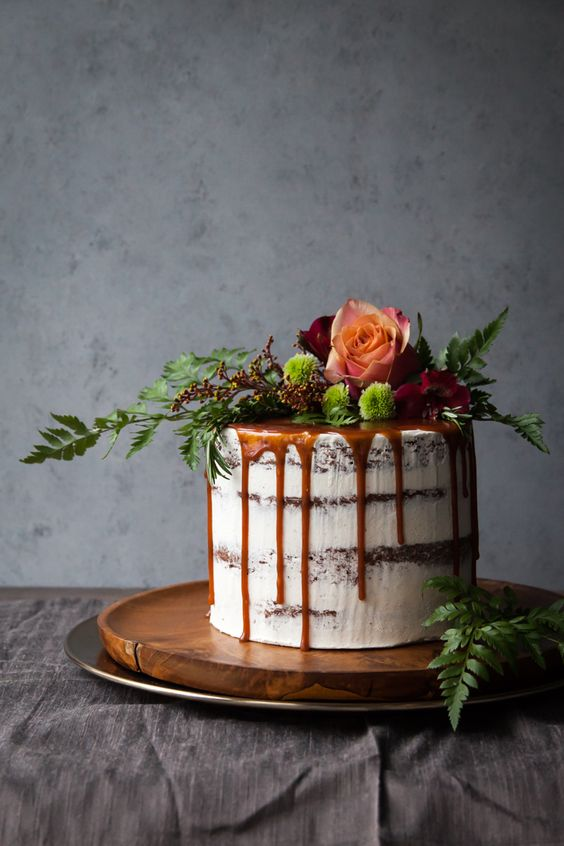 Chocolate Brownie Rosemary Cake with cinnamon caramel sauce.