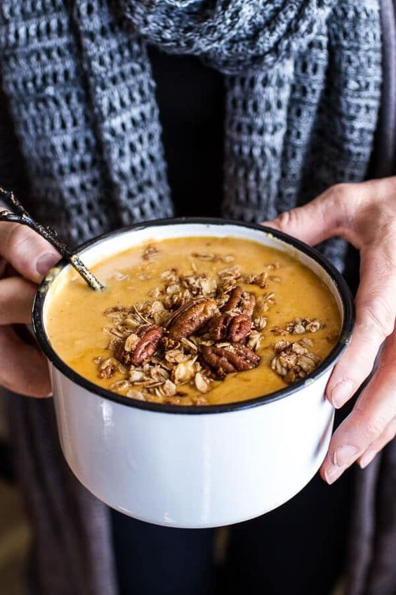 Brie and Cheddar Apple Beer Soup with Cinnamon Pecan Oat Crumble