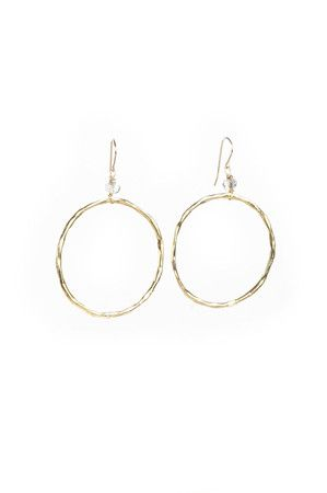 The Gold Loop Earrings with Clear Stone by Sigalie from MFredric.com