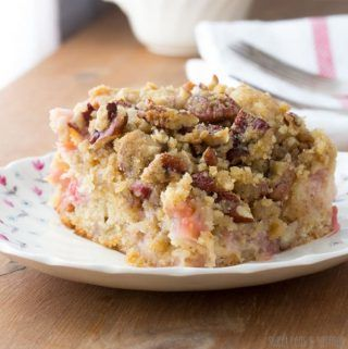 Rhubarb Coffee Cake With Nutmeg Pecan Streusel Recipe In 2020 Rhubarb Coffee Cakes Rhubarb Recipes Cake Recipe Using Buttermilk